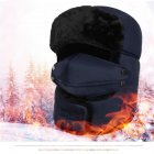 Winter Unisex Outdoor Riding Windproof Thick Warm Cotton Hats with Breathable Mask Blue Free size