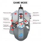 Wired Gaming Mouse Adjustable DPI 9Key J600 Macro Definition Programmable Wired Mouse Gamer Mice Breathing light for Computer Laptop PC PUBG Silver grey