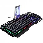 Wired Keyboard Robotic Feel Metal Luminous Backlight Mobile Phone Stand Holder Gaming Black
