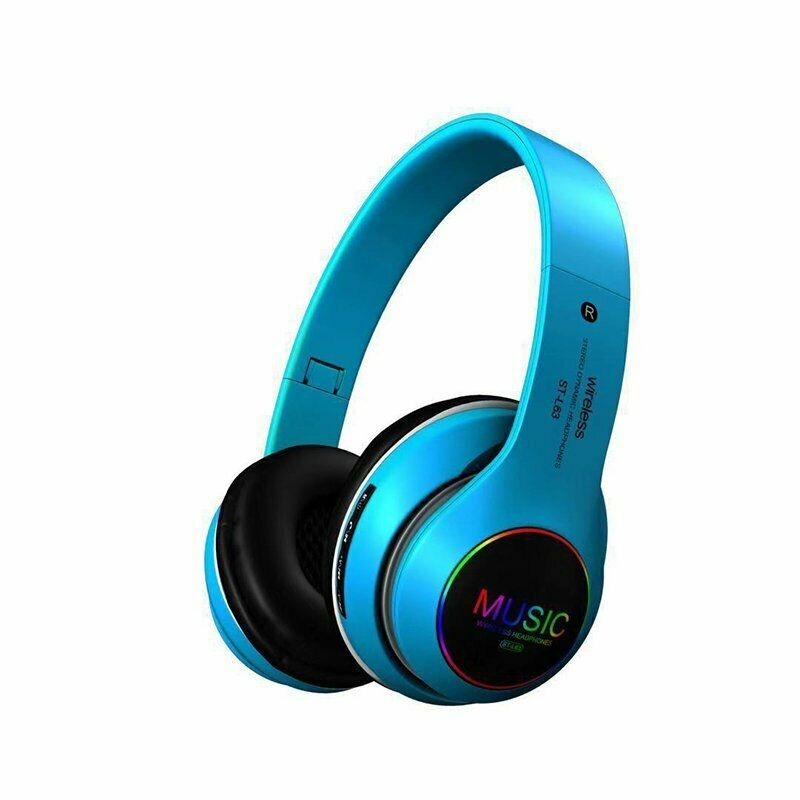 Wireless Bluetooth 5.0 Headphones Foldable Headset Earphones Noise Cancelling Sport Earphone blue
