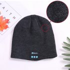 Wireless Bluetooth Smart Earphone Music Knitted Hat Winter Warm Cap with Mic Speaker for iOS Android dark gray