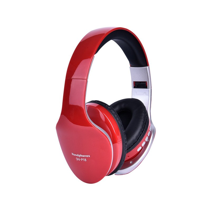 Wireless Headphones Bluetooth Headset Foldable Stereo Headphone Gaming Earphones Support TF Card with Mic for PC All Phone Mp3 red