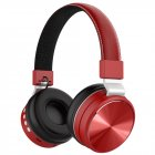 Wireless Headphones Bluetooth Over Ear FM Bass Sports Music Headset red