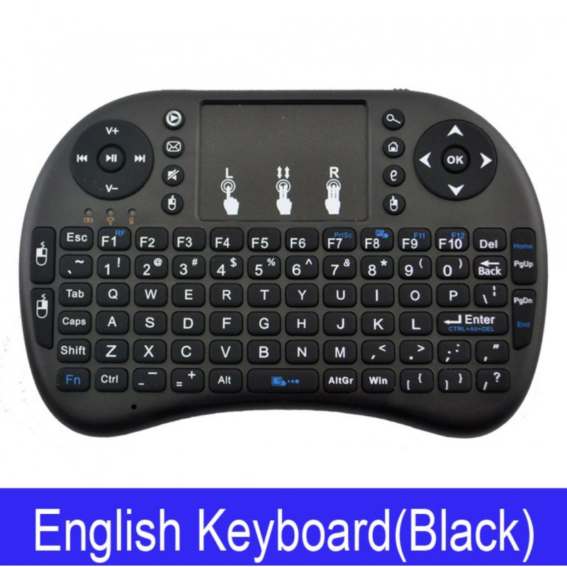 Wireless Keyboard Mini 2.4Ghz Wireless Mini Keyboard with Touchpad for PC Android Smart TV BOX KY Black battery