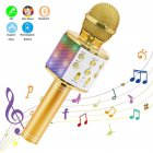 Wireless Microphone Karaoke Portable Bluetooth Speaker Home KTV Player with LED Dancing Lights Golden