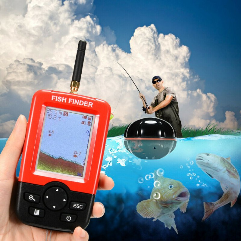 Wireless Sonar Sensor Portable Smart Fish Finder 100M Depth Range Sound Finder Selectable Test Sensitivity black