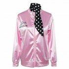 Woman Fashion Letters Printing Baseball Uniform Pink Ladies Satin Jacket with Polka Dot Scarf Pink_M