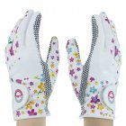 Woman Golf Gloves Soft Anti-slip Breathable Gloves with Stylish Flower Printing white