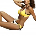 Woman Sexy Bikini Set Lace-up Separated Girls Bathing Suits Strips Swimwear  yellow_M