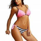Woman Sexy Bikini Set Lace-up Separated Girls Bathing Suits Strips Swimwear  Gouache_S