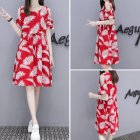 Woman Summer Short Sleeves Floral Printing Loose Dress Off-the-shoulder Waisted Dress  Red_3XL
