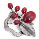 Women Ancient  Opal Stone Vintage Brooches Silver+red Large Flower Brooch Pins fit Sweater Scarf  red