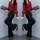 Women Autumn Shirt Thin High Wide Leg Pants Two Piece Suit Loose Waist Fashion Outfit red XL