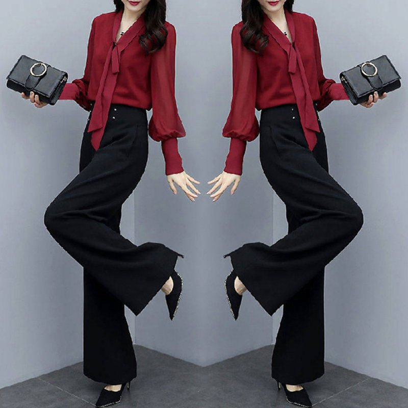 Women Autumn Shirt+Thin High Wide Leg Pants Two Piece Suit Loose Waist Fashion Outfit red_XL