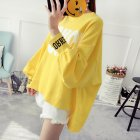 Women Autumn Winter Letters Printed Casual Long Sleeve Asymmetric Blouse Shirt Large Size yellow_XXL