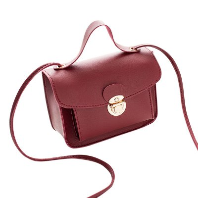 Women Casual Fashion Solid Color Single Shoulder Bag Sweet Style Mini Square Bag red