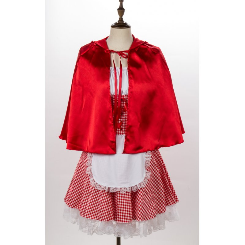 Women Copaly Dress Suit Plaid with Lace Decoration for Halloween Beer Festival  red_5XL