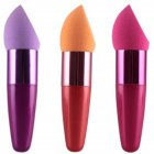 Women Cosmetic Water Drop Shape Dry Wet Make Up Powder Puff with Handle Rose red