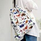 Women Cute Cartoon Animal Printing Travel Canvas Drawstring Backpack Bag zoo
