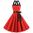 Women Fashion Bright Dot Pattern Strapless Large Hem Dress red_L