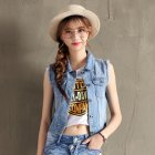 Women Fashion Cool Sleeveless Denim Waistcoat Slim Fit Jacket 8803 light blue _M