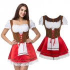 Women Fashion Front Strap Oktoberfest Style Dress Costume Uniform red M