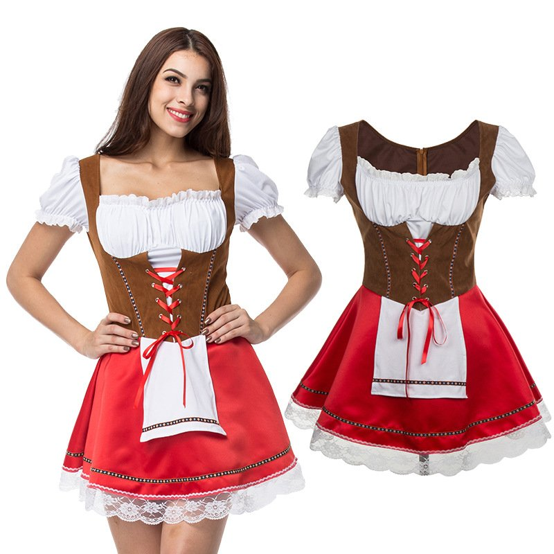 Women Fashion Front Strap Oktoberfest Style Dress Costume Uniform red_M