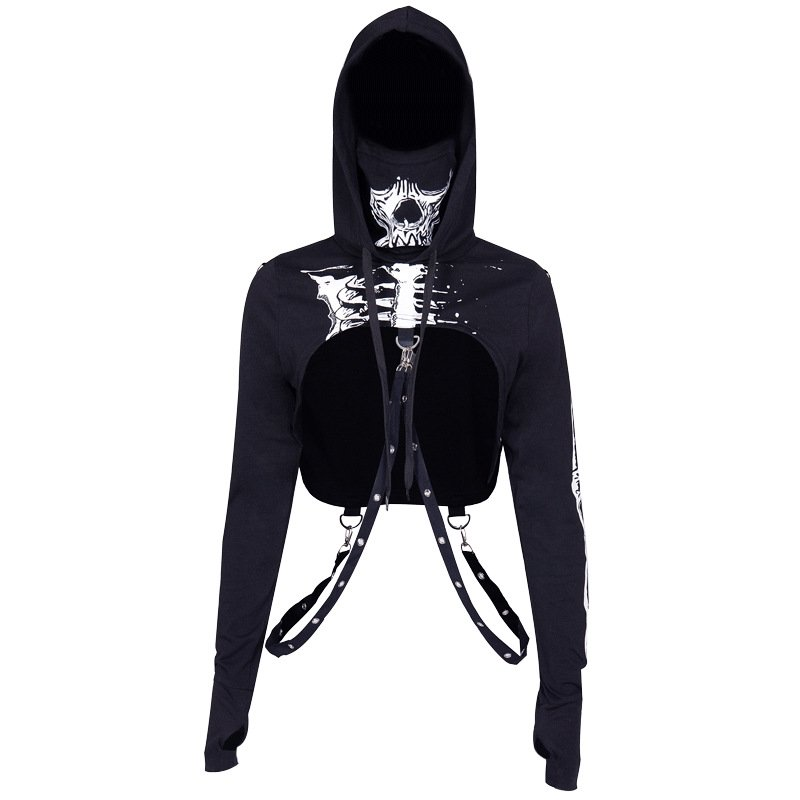 Women Fashion Halloween Series Street Style Skull Printing Hooded Sweatshirts black_S