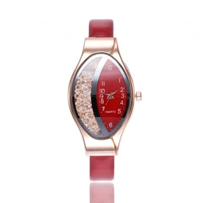 Women Fashion Imitation Leather Band Rolling Ball Oval Quicksand Quartz Watch red
