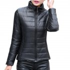 Women Fashion Short Slim Padded Jacket Warm Thicken Cotton Casual Coat Tops black_XL
