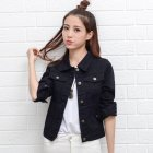 Women Fashion Slim Fit Solid Color Denim Jacket Long Sleeves Tops black_M