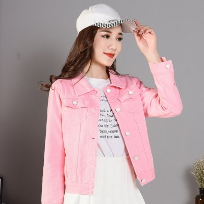 Women Fashion Slim Fit Solid Color Denim Jacket Long Sleeves Tops Pink_L