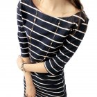 Women Fashion Stripe Pattern Half-sleeved Slim Fit Dress