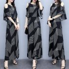 Women Fashion Summer Korean Loose Thin Off-shoulder Top + Wide Leg Pants Two Piece Suit Outfit Striped suit_XL