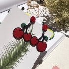 Women Fashion Vivid Color Acrylic Fruit Flower Design Earrings Cherry