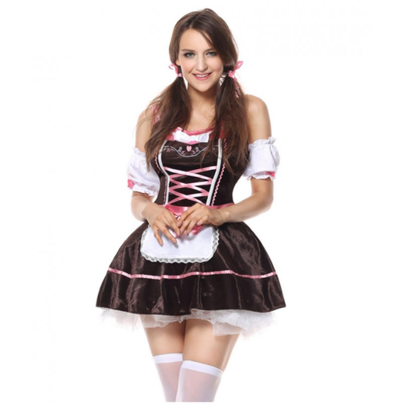 Women Girl Oktoberfest Dress Halloween Beer Festival Fashion Maid Uniform brown_S