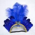 Women Halloween Xmas Festival Vacation Night Club Cocktail Carnival Party Belly Dance Show Headdress Feather Headwear Costume blue