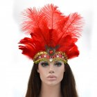 Women Halloween Xmas Festival Vacation Night Club Cocktail Carnival Party Belly Dance Show Headdress Feather Headwear Costume red