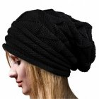 Women Knitted Cap Casual Pleated Warm Woolen Cap Beanie Hat for Ladies black