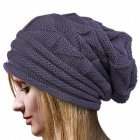 Women Knitted Cap Casual Pleated Warm Woolen Cap Beanie Hat for Ladies gray