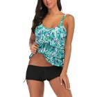 Women Large Size Floral Printing Boxers Top Bikini Set for Swimming green_M