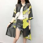 Women Large Size Thin Printing Beach Sunscreen Chiffon Cardigan 2#_Large size 80-145 kg worn inside