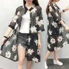 Women Large Size Thin Printing Beach Sunscreen Chiffon Cardigan 7#_Large size 80-145 kg worn inside