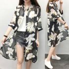 Women Large Size Thin Printing Beach Sunscreen Chiffon Cardigan 4#_Large size 80-145 kg worn inside