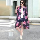 Women Large Size Thin Printing Beach Sunscreen Chiffon Cardigan 17#_Large size 80-145 kg worn inside