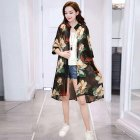 Women Large Size Thin Printing Beach Sunscreen Chiffon Cardigan 18#_Large size 80-145 kg worn inside