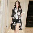 Women Large Size Thin Printing Beach Sunscreen Chiffon Cardigan 19#_Large size 80-145 kg worn inside