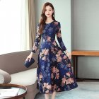 Women Long Dress V-neck Retro Printing Flower High Waist Long Sleeves Spring Autumn Dress Blue_M