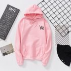 Women Men Lovers Fashion Thicken Loose Fleece Long Sleeve Hooded Sweatshirt Pink XL