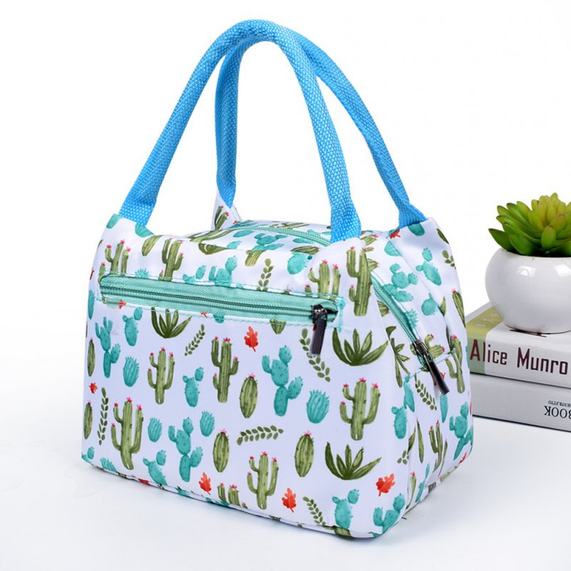 Women New fashion zipper portable insulation bag cartoon waterproof lunch bag with aluminum foil insulation lunch bag cactus